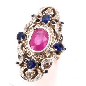 Anello maxi spola oro in stile con diamanti - 0.30 ct - rubino - 3.50 ct- e zaffiri -2.80 ct; 16.68 gr