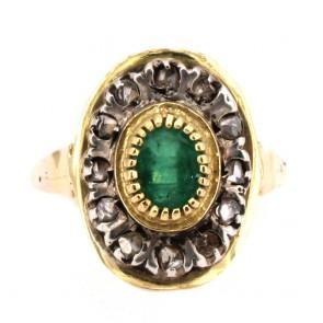 Anello toppa/margherita, in stile oro, diamanti  e smeraldo;