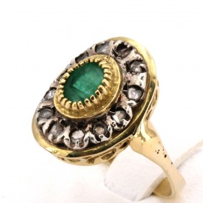 Anello toppa/margherita, in stile oro, diamanti  e smeraldo; 4.5 gr