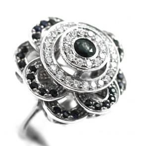 Anello maxi fiore argento, radici di zaffiro e zirconi - 16,3 gr