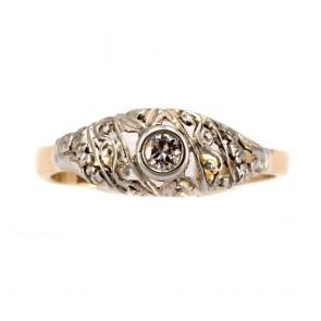 Anello fascia solitario in stile, oro e diamante