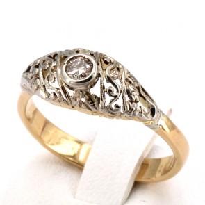 Anello fascia solitario in stile, oro e diamante -0.10-0.12 ct; 3.70 gr