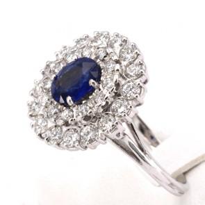 Anello margherita zaffiro - 2.00-2.50 ct - e diamanti - 2.30-2.50 ct; 8.65 gr