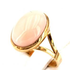 Anello ovale in stile corallo rosa e oro; 3 gr