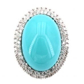 Anello maxi margherita turchese e diamanti