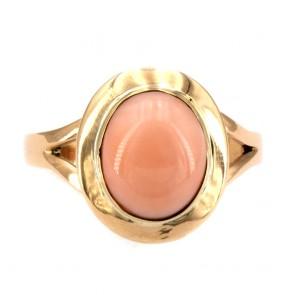 Anello ovale in stile corallo rosa e oro
