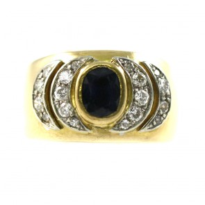 Anello fascia oro, zaffiro - 1,20-1,30 ct e diamanti - 0,40-0,50 ct; 9,6 gr