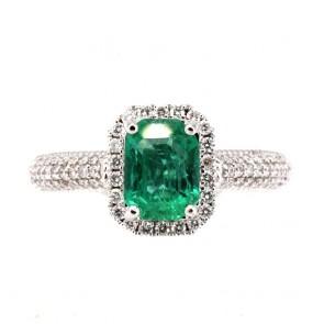 Anello margherita rettangolare oro, smeraldo