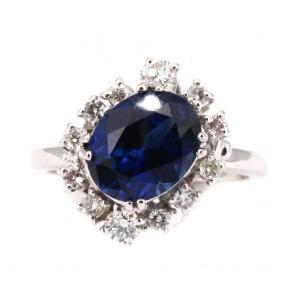 Anello margherita oro, zaffiro - 4.01 ct - e diamanti
