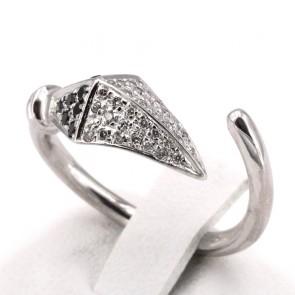 Anello serpente, oro bianco e diamanti bianco neri - 0.45-0.50 ct; 4.87 gr