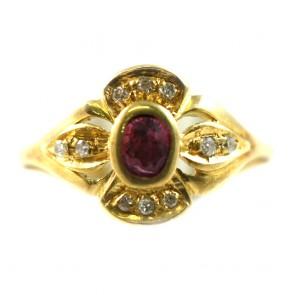 Anello fascia fiore in stile oro, rubino -0,13-0,15 ct- e diamanti - 0,10-0,12 ct; 3,4 gr