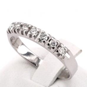 Anello riviera oro e 7 diamanti -0.35-0.40 ct; 3.73 gr