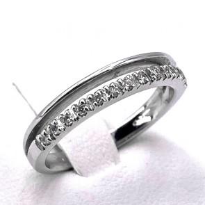 Anello riviera e fede oro e diamanti -0.12 ct; 2.97 gr
