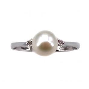 Anello perla, oro e diamanti