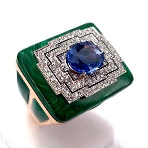 Anello geometrico  capolavoro maxi oro, malachite,  zaffiro - 3.20 ct - e diamanti - 0.70 ct ; 20.75 gr