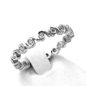 Anello eternel spirali circolari oro e diamanti -0.25 ct; 2.23 gr