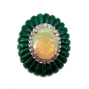 Anello, maxi ovale oro, malachite scanalata, opale