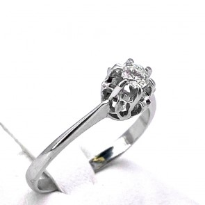 Anello solitario, montatura in stile, oro e diamante - 0.14-0.16 ct; 2.21 gr