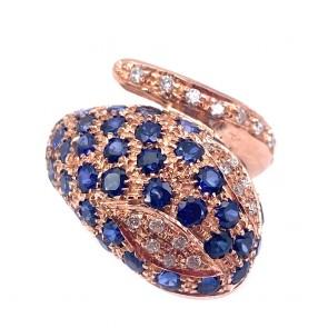 Anello serpente maxi oro in stile con diamanti