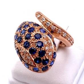 Anello serpente maxi oro in stile con diamanti - 0.36 ct e zaffiri -5.15 ct; 9.16 gr
