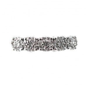 Anello riviera 5 fiorellini oro e diamanti -0,51 ct; 3,8 gr