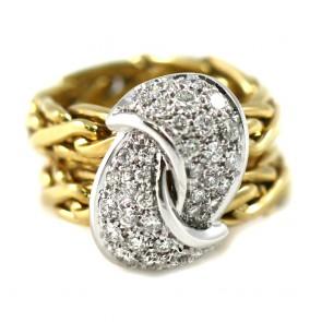 Anello con gambo doppia catena maxi nodo oro e diamanti - 1,60-1,70 ct; 17,2 gr