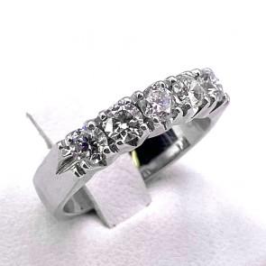 Anello riviera oro e diamanti -1.01 ct; 5.83 gr
