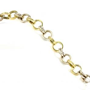 Bracciale catena bicolore maglie circolari oro - 20,33 gr; 21,5 cm