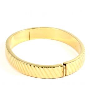 Bracciale rigido fascia scanalata in oro - 25,8 gr
