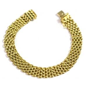 Bracciale catena maglia oro, fascia larga