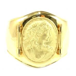 Bracciale maxi oro rigido con cammeo in oro