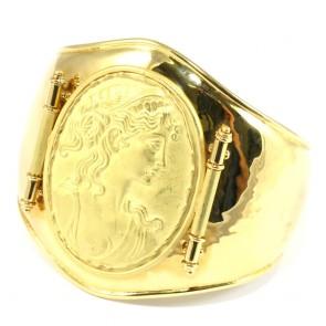 Bracciale maxi oro rigido con cammeo in oro - 44,1 gr