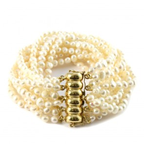 Maxi bracciale oro a 11 fili di perle