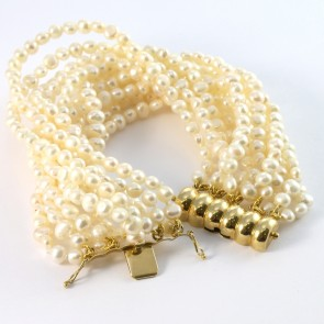 Maxi bracciale oro a 11 fili di perle -66,5 gr; 20 cm