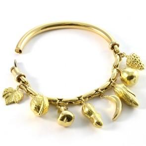 Bracciale charms semi rigido frutta, oro - 33,6 gr; 6,7 cm di diametro