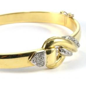 Bracciale cerchio rigido, oro e diamanti - 0.25-0.30 ct-  24.09 gr; 6.5 cm x 5 cm