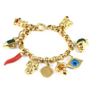 Bracciale maxi charms, oro