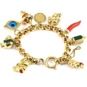 Bracciale maxi charms, oro - 20 cm; 45.6 gr