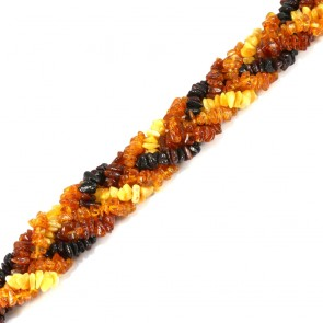 Bracciale maxi treccia ambra tricolore a sassi irregolari - 27.94 gr; 20 cm x 2.2 cm