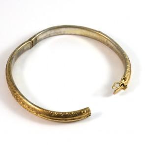 Bracciale cerchio rigido periziato antico, in argento vermeil giallo - 14.3 gr