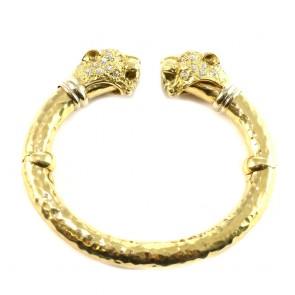 Bracciale cerchio rigido, doppia testa di pantera oro e zirconi
