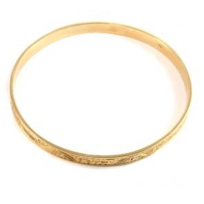 Bracciale cerchio rigido periziato antico, oro giallo inciso - 25.8 gr