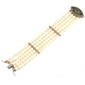 Bracciale multifilo in stile oro, perle, smeraldo