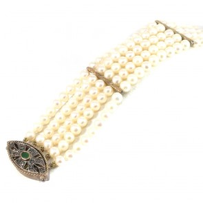 Bracciale multifilo in stile oro, perle, smeraldo -0.5 ct- e diamanti -0.10 ct; 19 cm