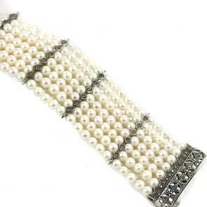 Bracciale multifilo in stile oro, perle e diamanti -0.28 ct; 18 x 5 cm; 95 gr