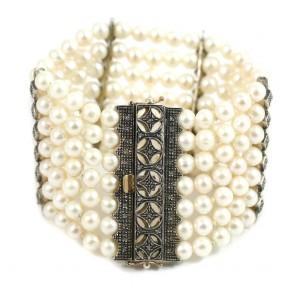 Bracciale multifilo in stile oro, perle e diamanti