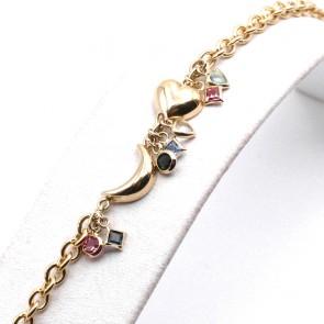 Bracciale charms cuore e luna, argento dorato - 18.5 cm; 6.9 gr