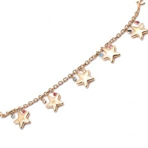 Bracciale charms stelle, argento dorato - 18.5 cm; 12.3 gr