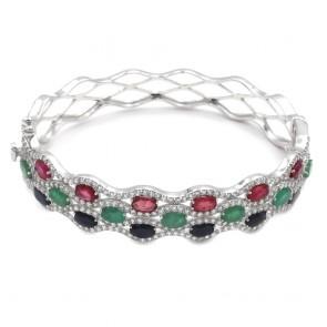 Bracciale rigido argento, zaffiri, smeraldi, rubini