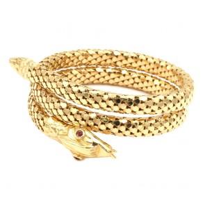 Bracciale serpente spirale rigida, oro